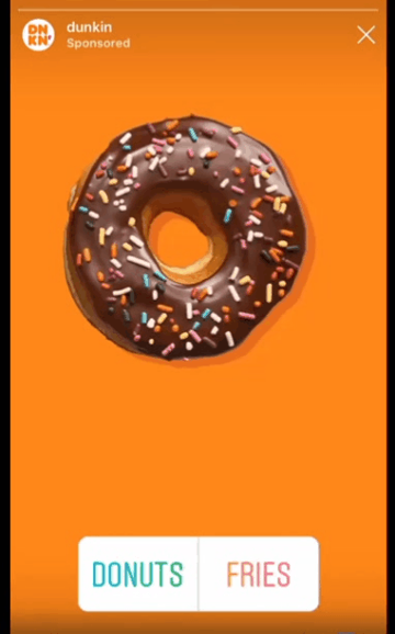 Instagram Story ad from Dunkin'