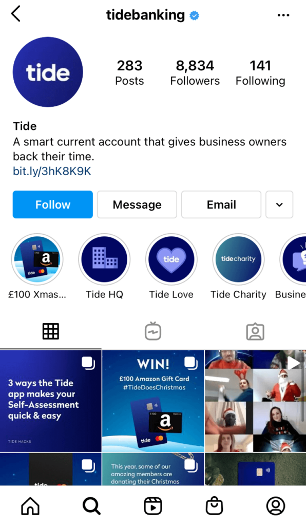 A screenshot of the Tide instagram page