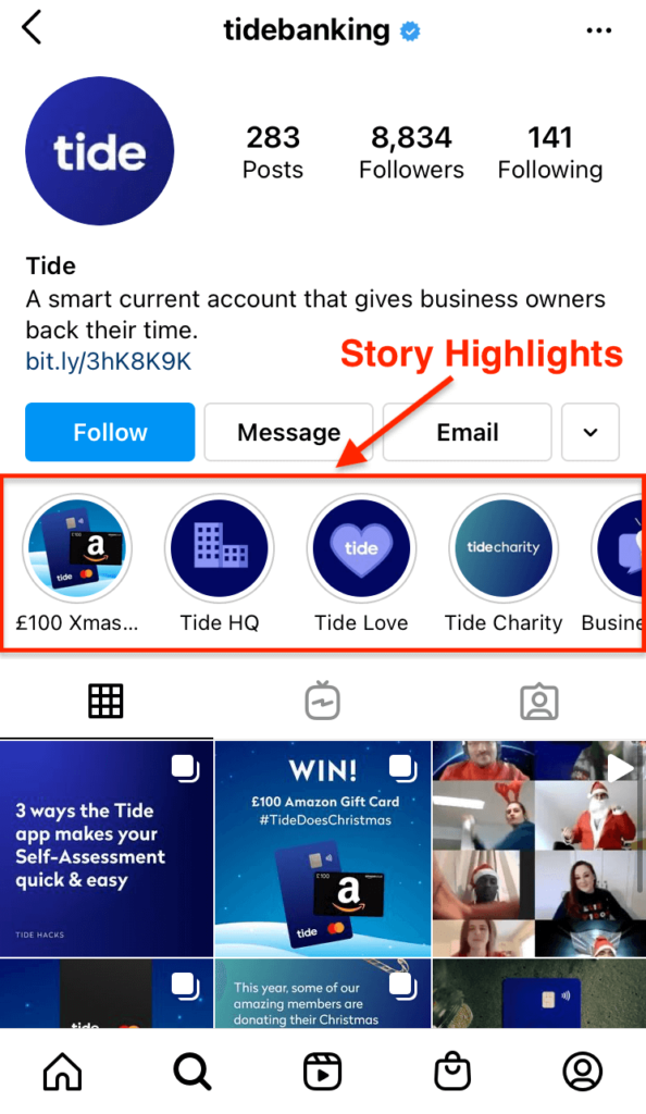 Screenshot showing the Tide Instagram page, highlighting the story highlights section