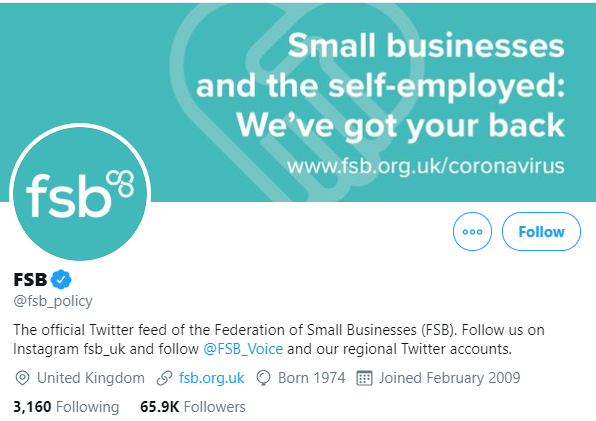 FSB Twitter account with Instagram call-to-action