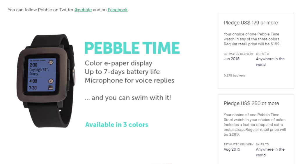 Screenshot of Pebble Time's Kickstarter campaign