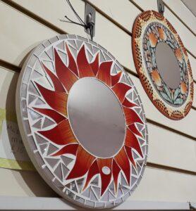 Sunburst mirror on display at Raphael's