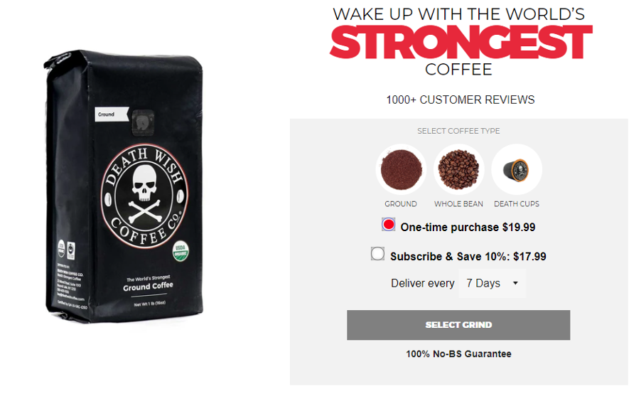 Death Wish Coffee's product page