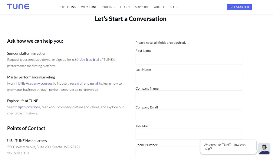 Tune's contact page