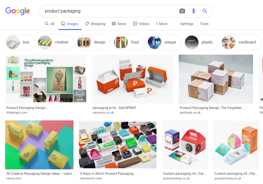 Google search result for product packaging examples