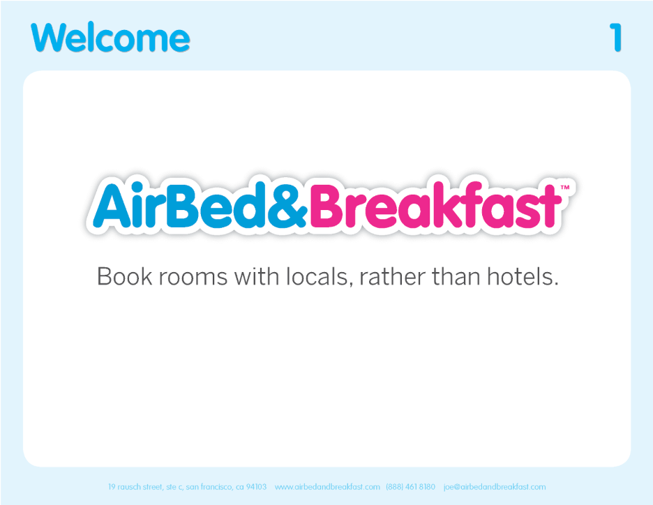Airbnb's first pitch deck