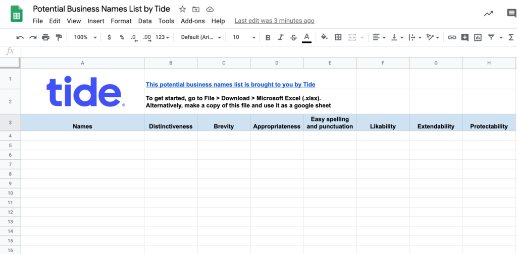 Screenshot of potential business names list spreadsheet by Tide