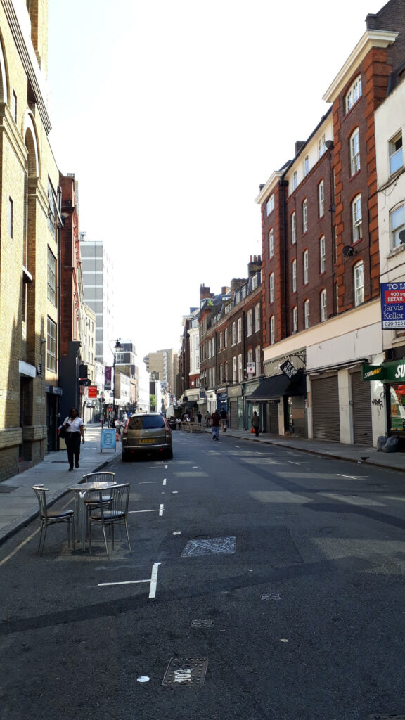 Leather Lane at lunchtime on Monday 10 August 2020
