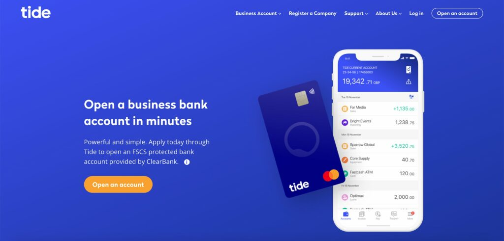 Website homepage of Tide Banking and Payments web application