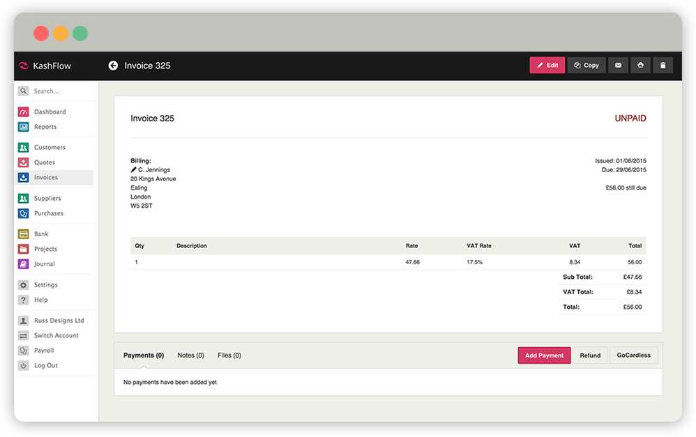 Screenshot showing Kashflow invoicing software dashboard