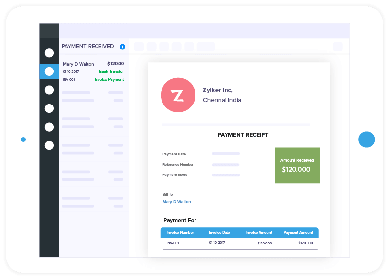 Screenshot showing the Zoho Invoice software UI