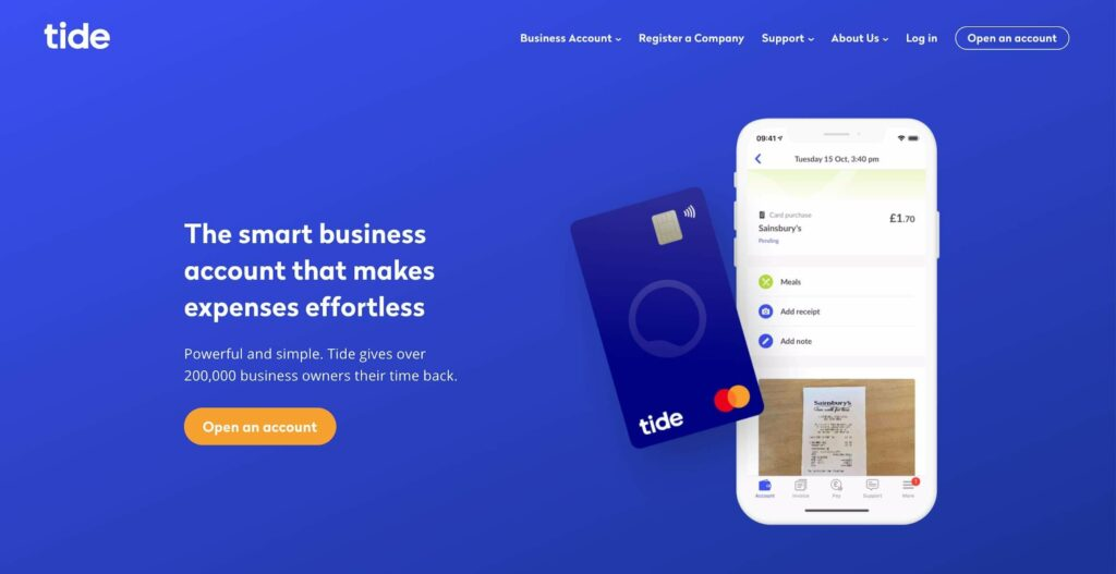 Tide's business finance platform website homepage user interface