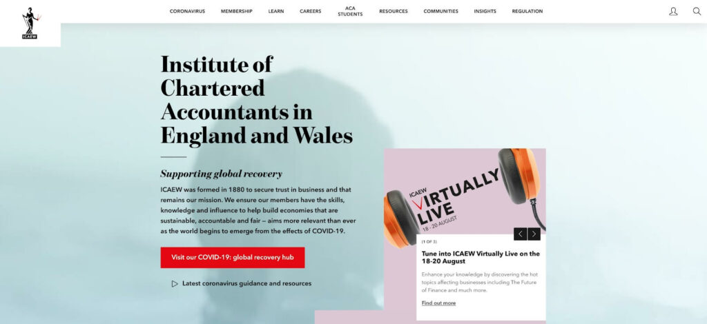 Institute of Chartered Accountants in England and Wales - Professional Membership web portal homepage