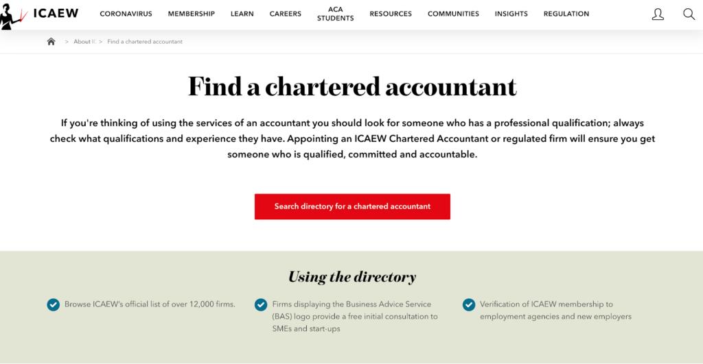 Screenshot of the ICAEW website