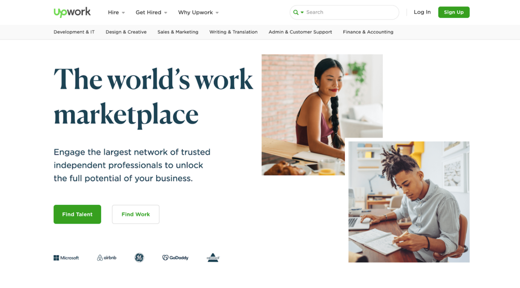 Upwork freelance marketplace website homepage
