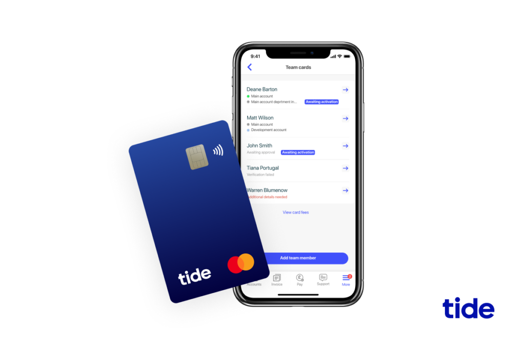 A screenshot of a Tide business expense card in front of a mobile device displaying the Tide app
