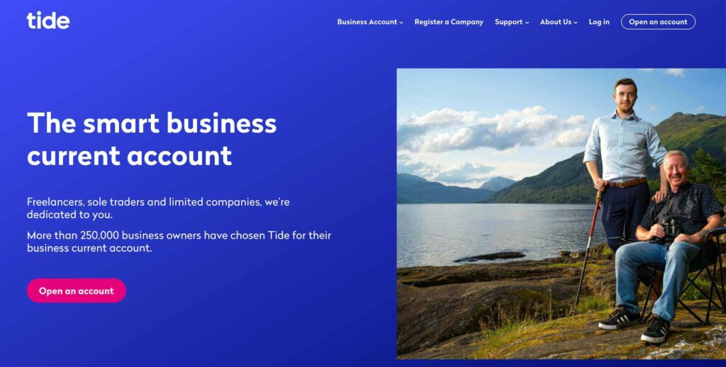 A screenshot of Tide business account website homepage