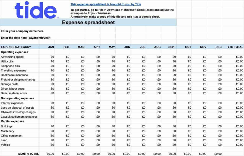 A screenshot of Tide sample expense spreadsheet