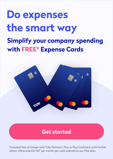 A banner inviting you to sign up to Tide to make use of expense cards
