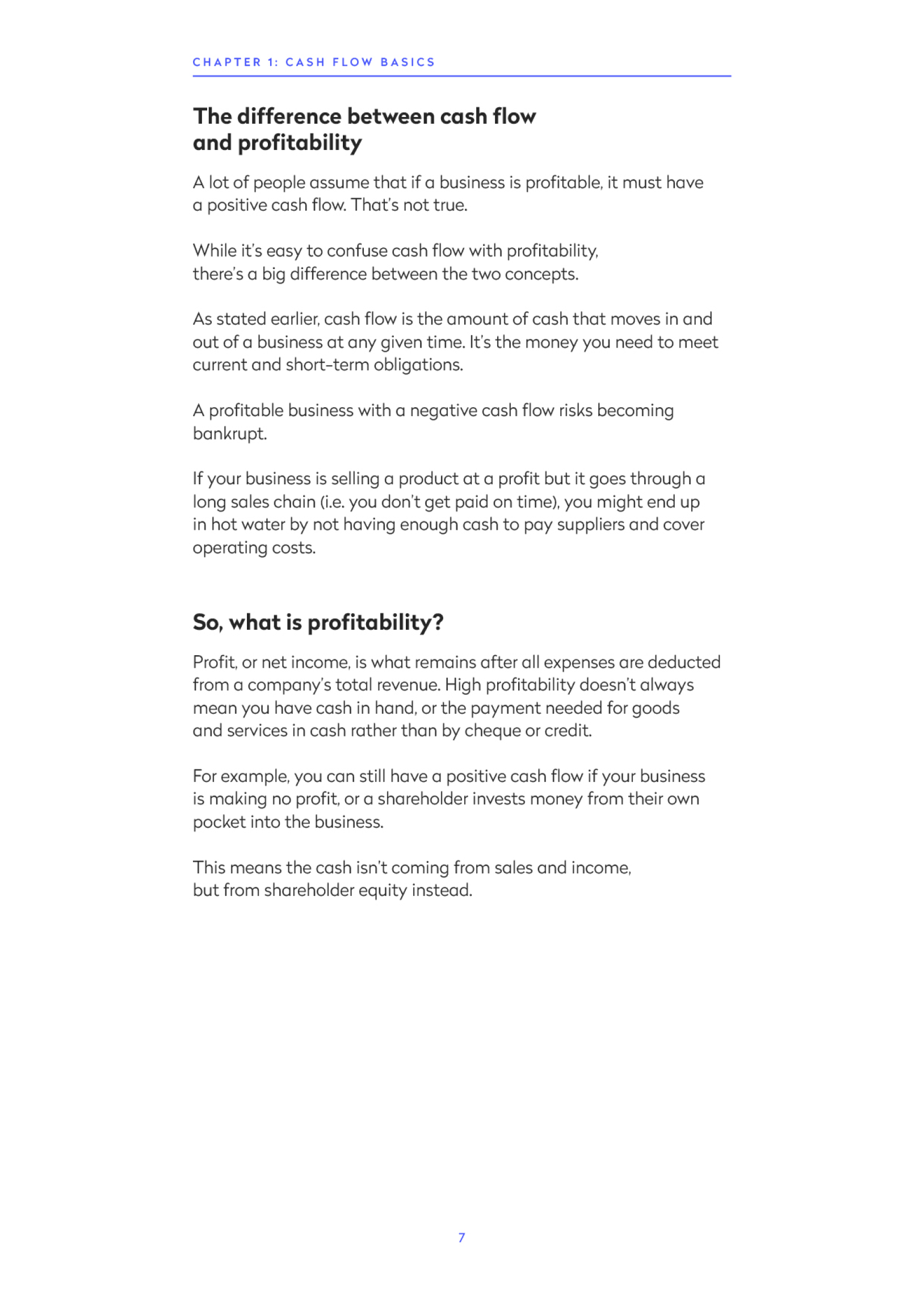 Screenshot from the ebook explaining the difference between cashflow and profitability