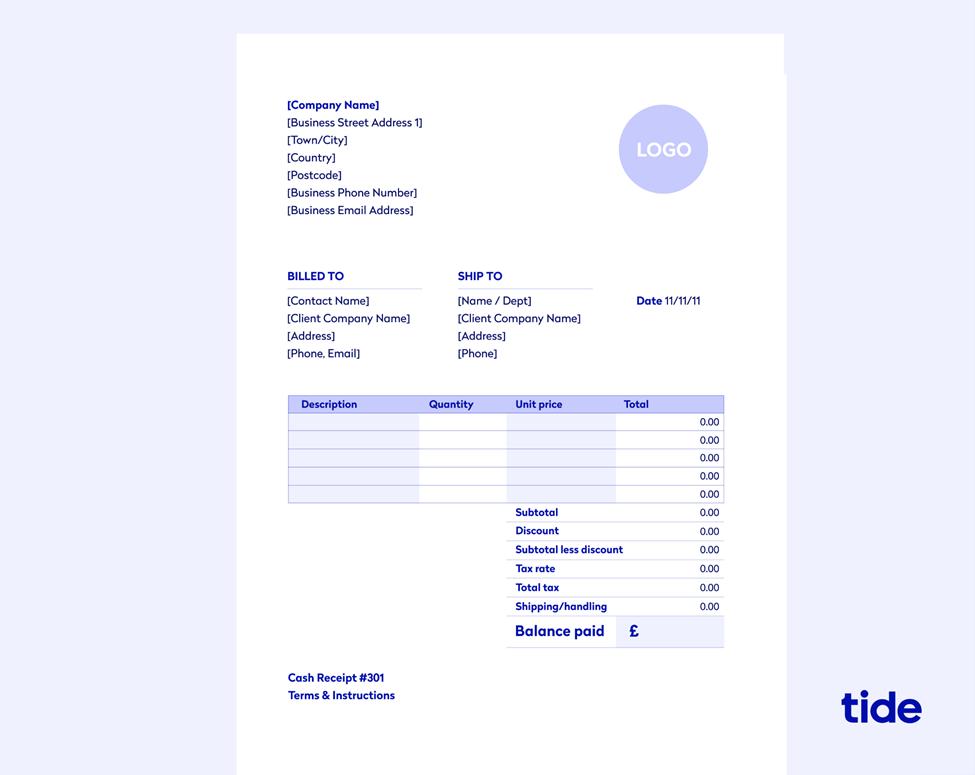 tide invoice template