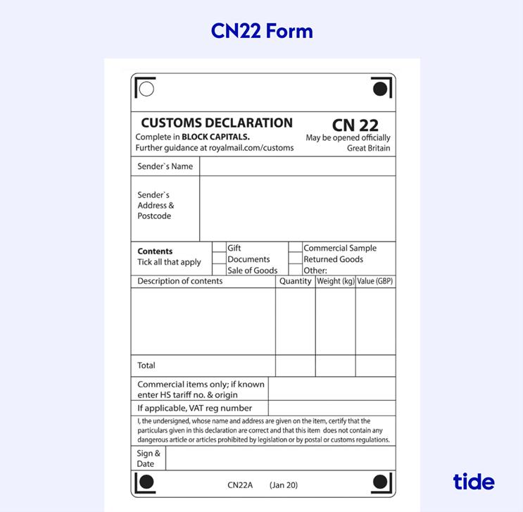 customs declaration cn22 form