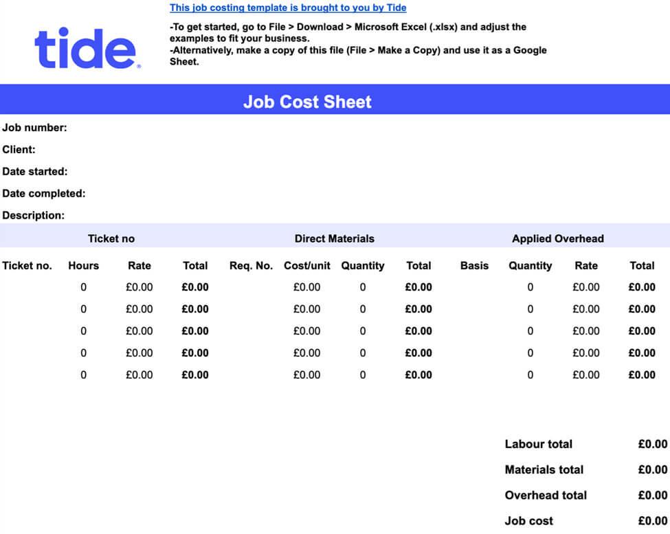 tide job cost sheet